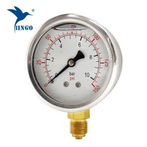 Manometro in acciaio inossidabile da 60 mm con attacco in ottone manometro di fondo 150psi manometro riempito di olio